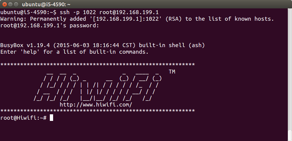 gee root hiwifi ssh